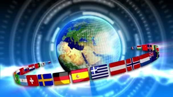 Spinning Earth mit Flaggen - Erde 92 (Hd)