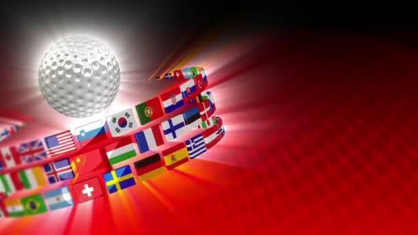 golfový míček s mezinárodními vlajkami pohybu pozadím