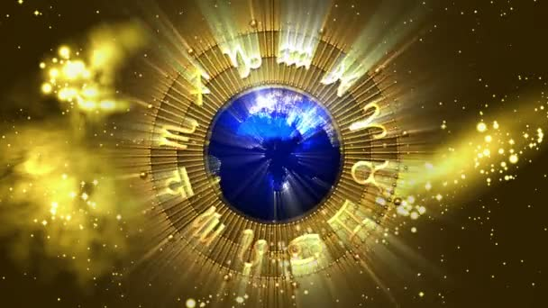 Goldene Sternzeichen der Astrologie und Planet Erde