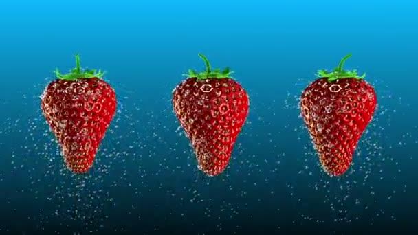 čerstvé jahody s vodní kapky smyčka