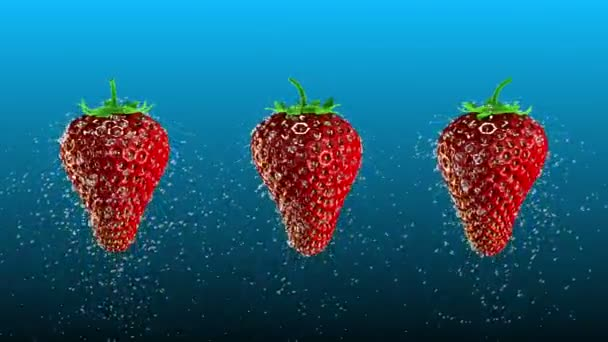Fresh Strawberries with Water Drops Loop