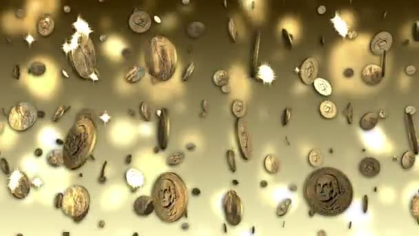 US Dollar Coins Looping Background with Alpha
