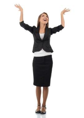 Businesswoman celebrating her success
