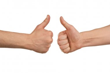 Two male hands showing thumbs up
