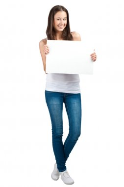 Casual girl holding a blank signboard