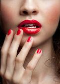 Fotografie closeup žena červené rty