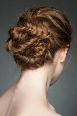 Woman with braid hairdo