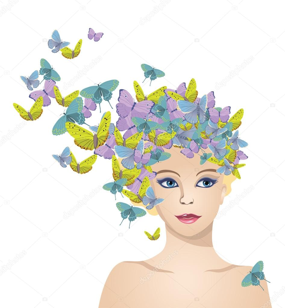 The girl with hair of butterflies