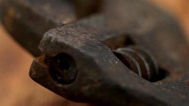 Closer look of the head of a pipe wrench