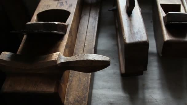 Wooden carpentry tools on the table