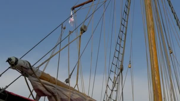 The ropes and the flag of the old viking ship GH4 UHD