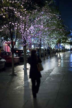 Glowing lights on trees in new york city