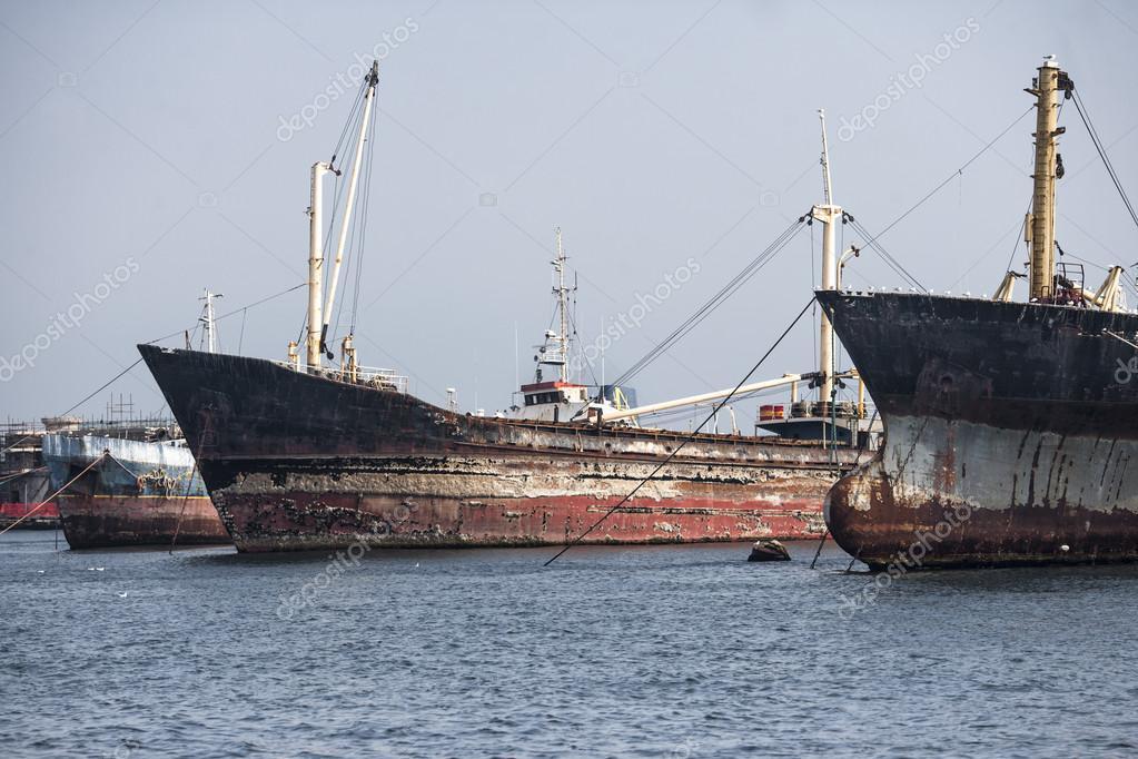 Old rusty ships in capri italy