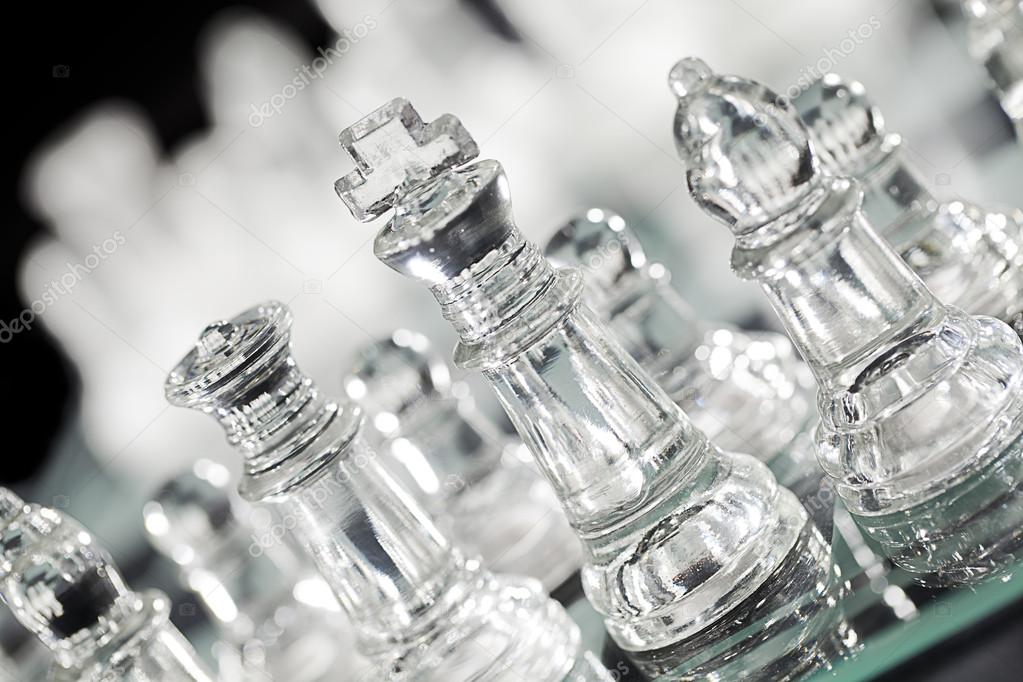 Transparent glass chess piece