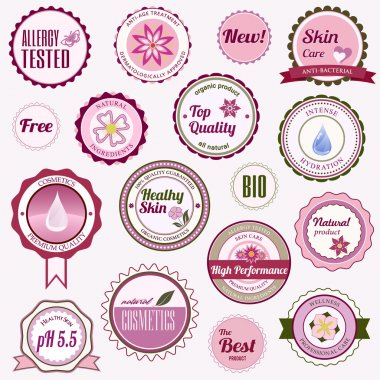 Set of cosmetic badges, labels and stickers
