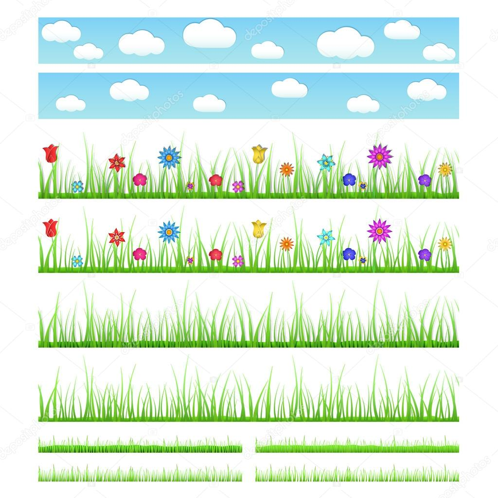 Set of seamless grass with flowers and without