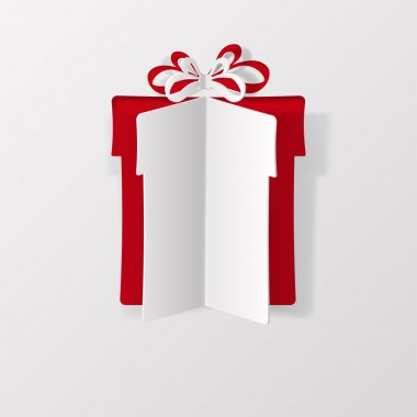 Gift box with bow, cut from paper clip art vector