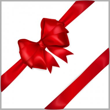 Bow of red wide ribbon with diagonally ribbons clip art vector