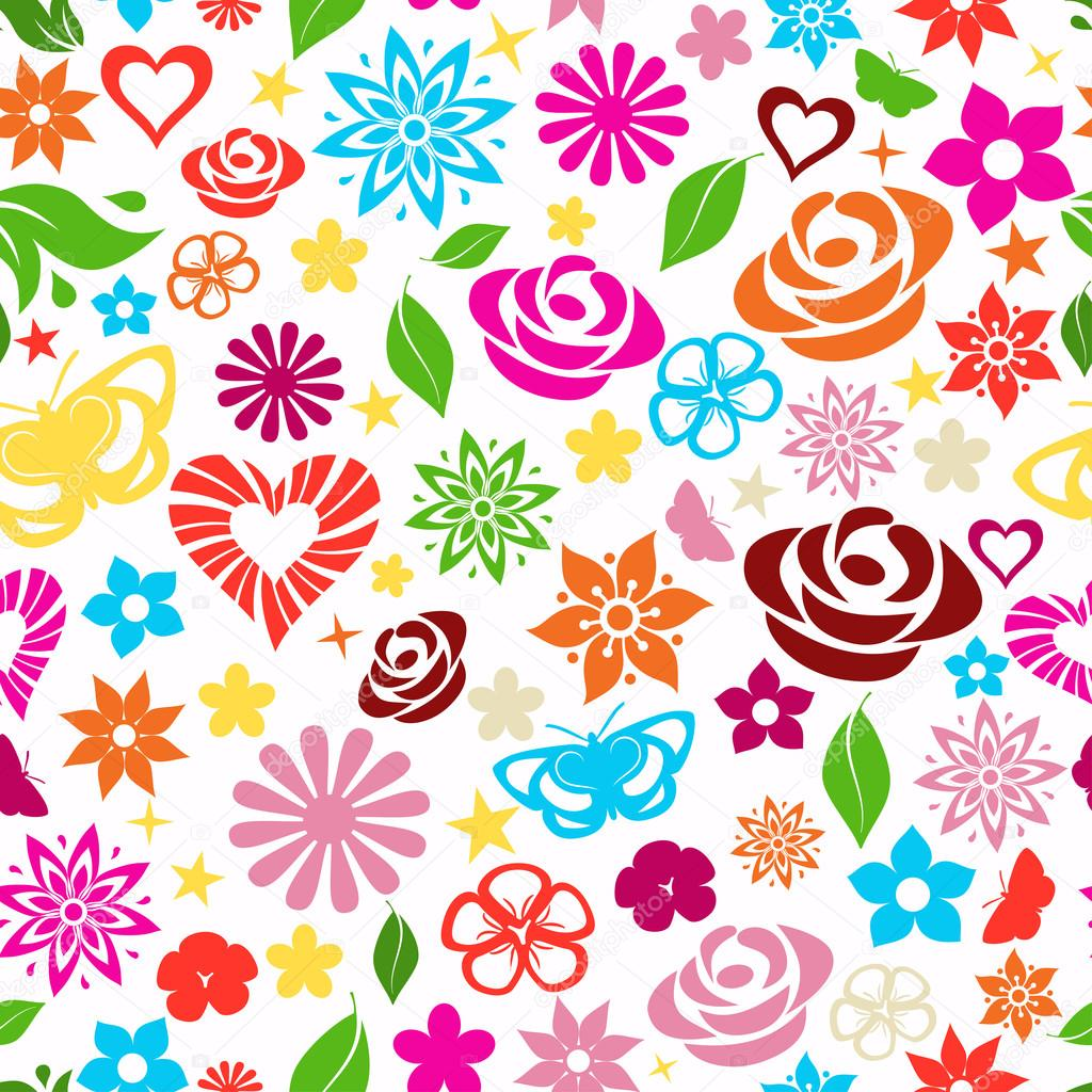 Seamless pattern of multicolored flowers