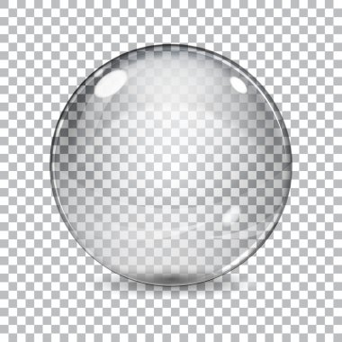 Transparent  glass sphere with shadow on a plaid background stock vector