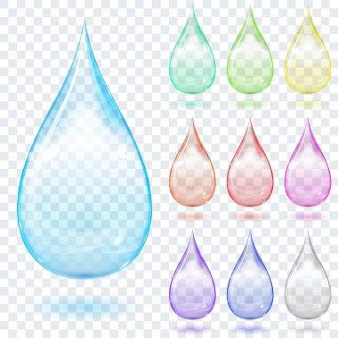 Set of multicolored transparent drops
