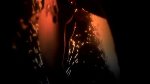 sexy Tänzerin auf der Bühne mit firewoks