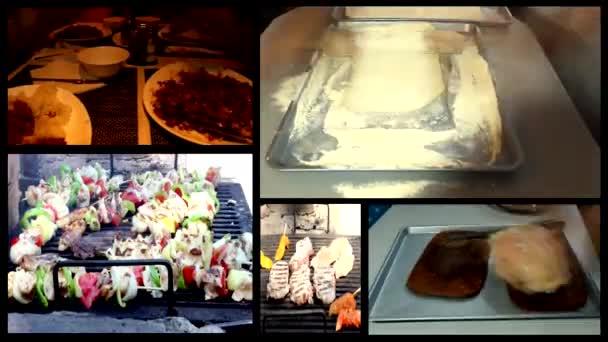 食品、レシピ、キッチンで夕食. .multi 画面