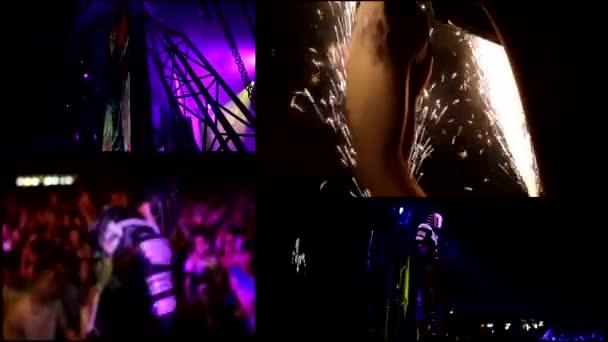 DJ, reflektor vj fények, összejövetel, party, forró szexi lány táncol, robot, vj - multi-képernyő idő telik el