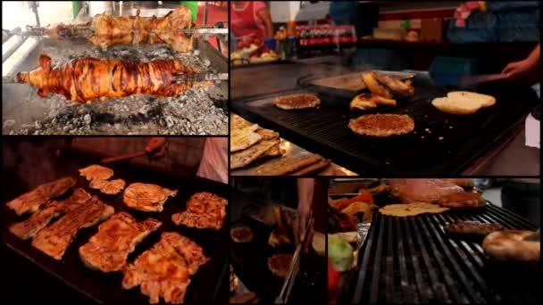 Burger masa grilovaný grilování rozdělení multi obrazovky