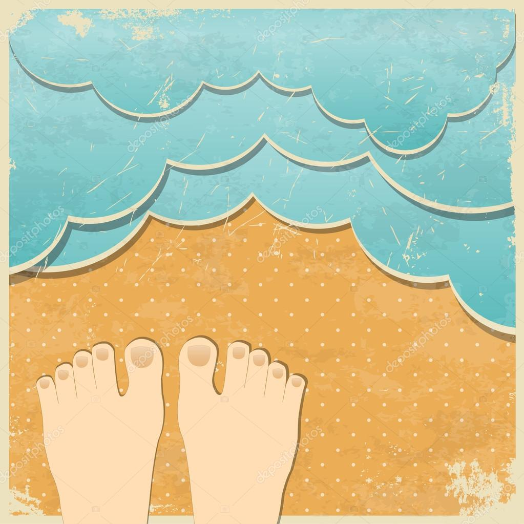 Retro summer holiday background. Paper waves and beach