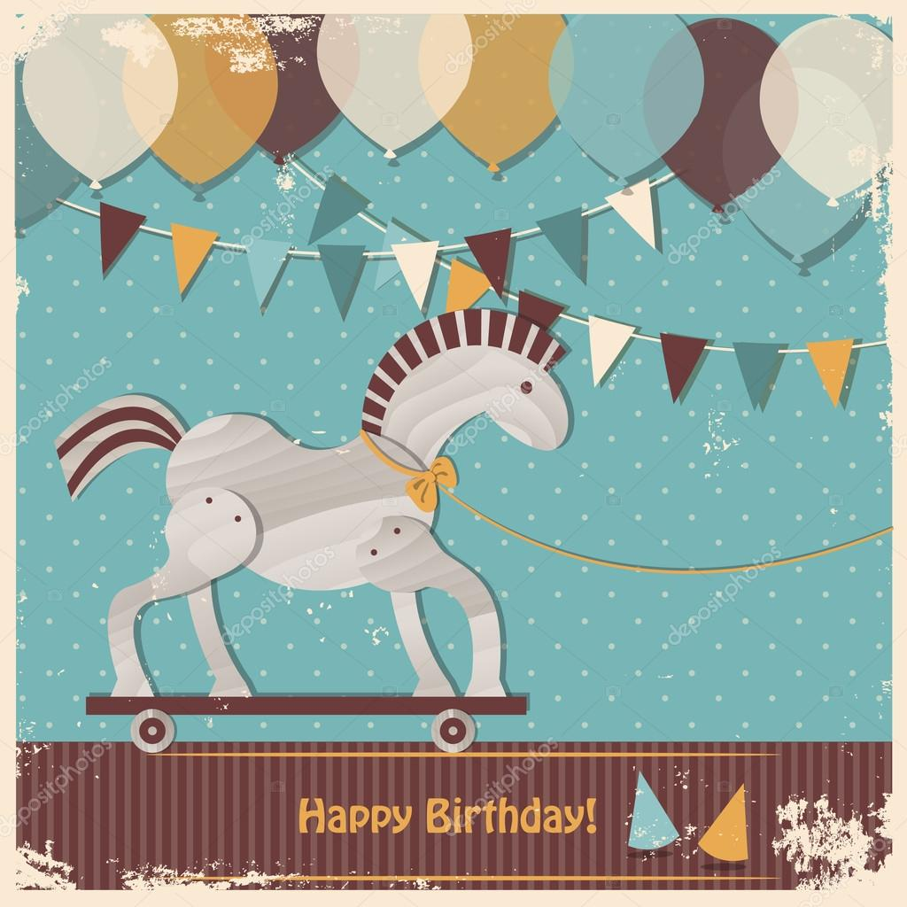 Happy Birthday Horse Graphics Cute Toy Horse Happy Birthday Card Stock Vector C Ajjjgul 30746769