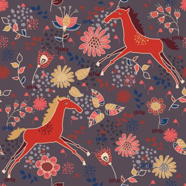 Cute seamless texture with horses in flowers