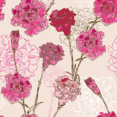 Seamless pattern with carnation flowers