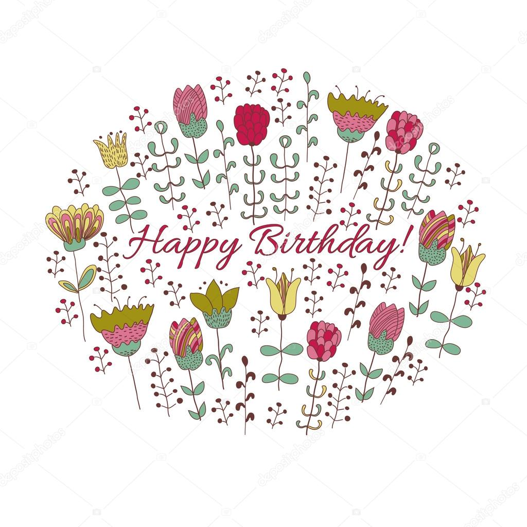 Happy Birthday Card With Doodle Flowers Stock Vector Ajjjgul