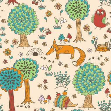 Cute doodle seamless pattern with forest animals