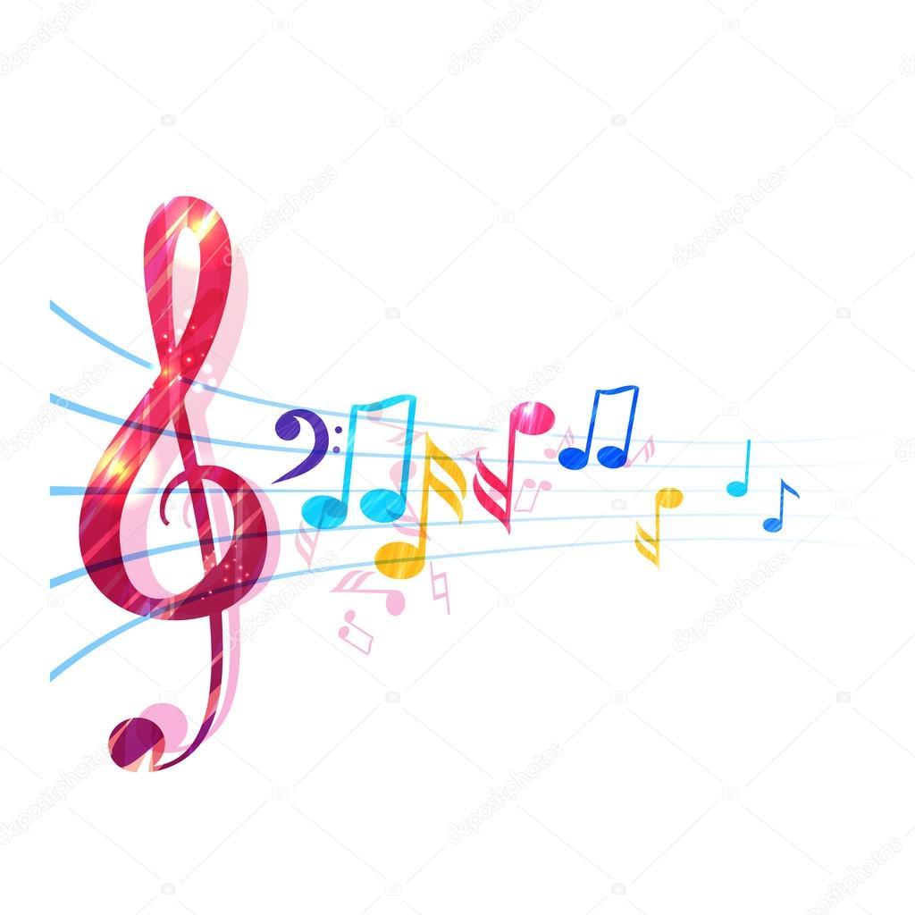 Vector Pentagramas Musicales De Colores Varias Notas Musicales En