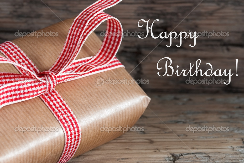 Rustic Present With Happy Birthday Stock Photo