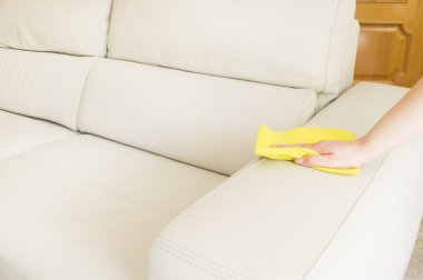cleaning a beige sofa