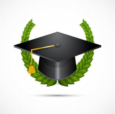 Graduation hat detailed vector illustration