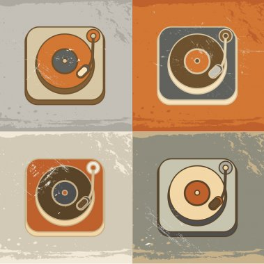 Retro record player icons