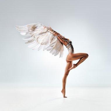 Young and beautiful dancer posing in studio stock vector