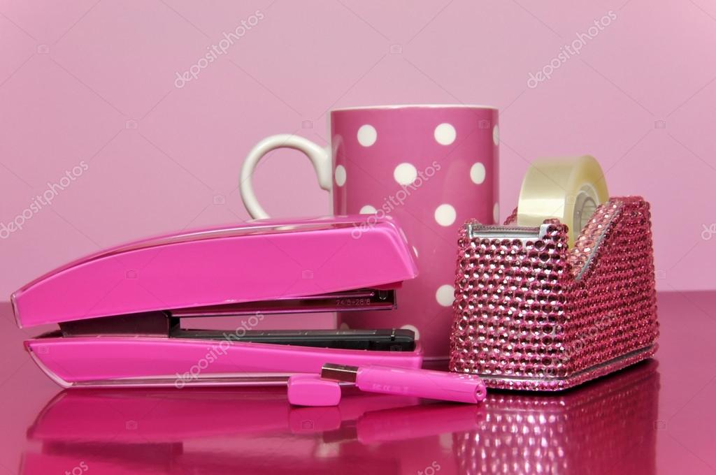 Pink Office Accessories And Polka Dot Coffee Mug U2014 Stock Photo