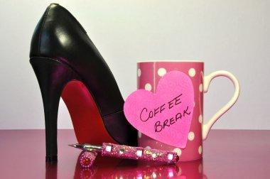 Pink Bling Office Coffee Break Time