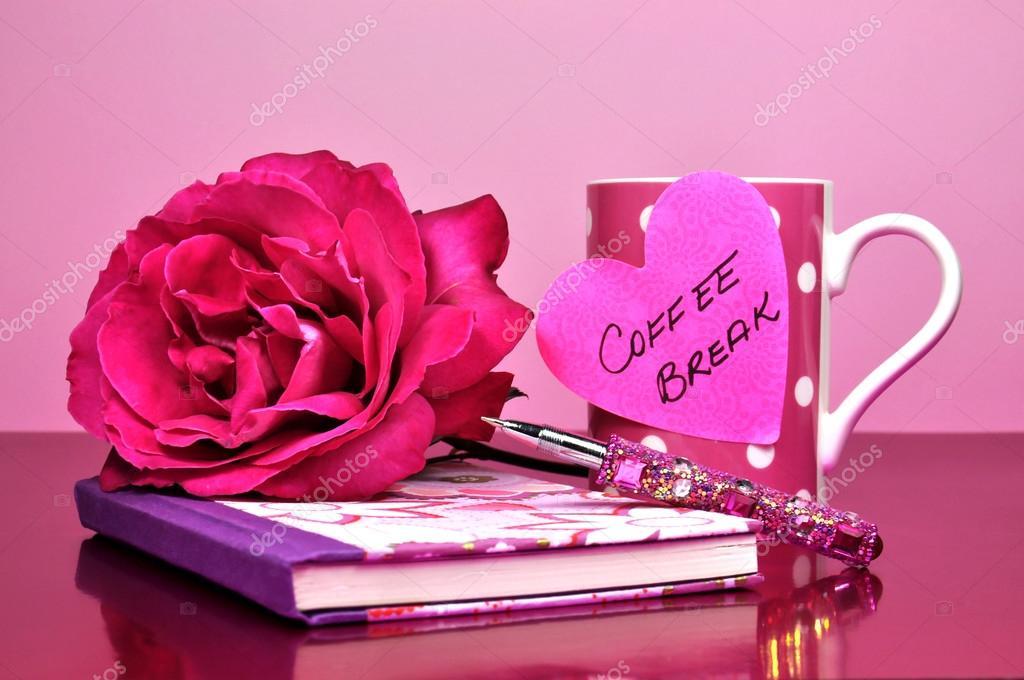 Elegant Coffee Break Pink Office Accessories And Rose U2014 Stock Photo #15702833