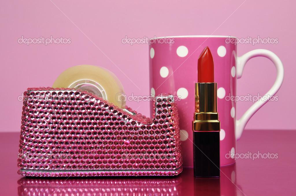 Pink Office Accessories Tape Dispenser, Mug And Lipstick U2014 Stock Photo  #15702851