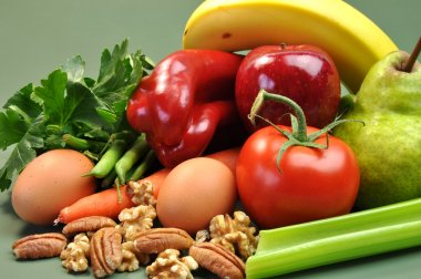 Healthy Food - Fruit , Nuts, Vegetables & Eggs