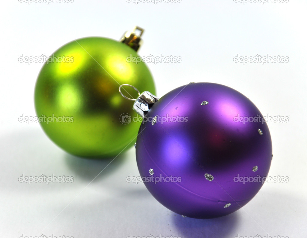 Blue Purple and Lime Green Christmas Ornaments — Stock Photo ...