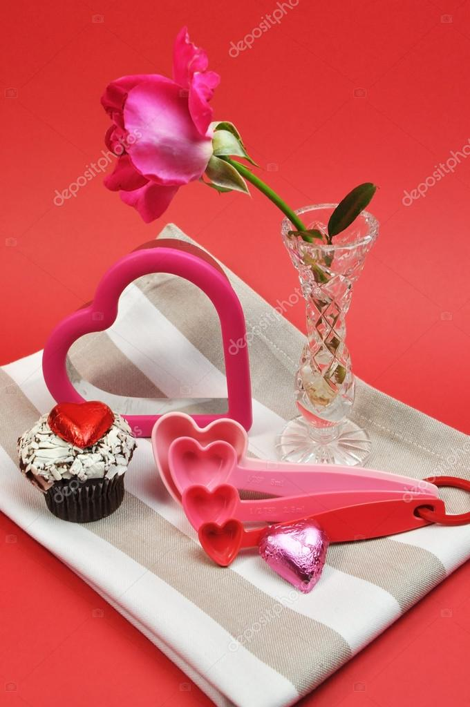 valentine day cooking and baking accessories with pink rose, Ideas