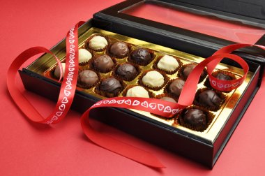 Valentine romantic opened box of chocolates.