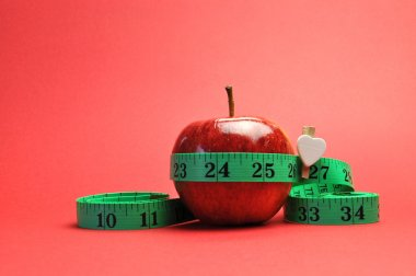 New Year Resolution Goal Lose Weight Concept. with Red Background